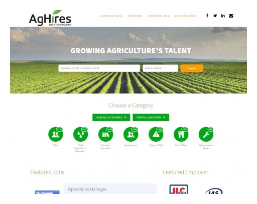 AgHires Launches its Redesigned Job Board and Recruiting Platform for Agriculture