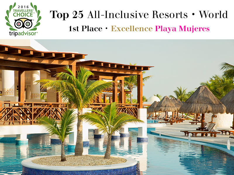 Excellence playa mujeres named best all inclusive resort for Best food all inclusive