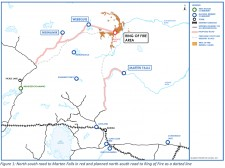Map showing proposed and planned north-south road to Marten Falls First Nation