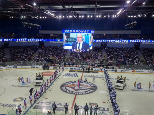 ColosseoEAS Lights Up New HD Center Hung Video Board for KHL Season Opening!