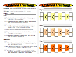 Fun math games for middle school printable
