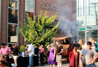 Neighbors gather at the Church of Scientology Seattle for a block party and barbecue on National Night Out