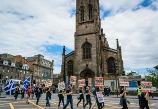 CCHR marched from Scott Monument to Edinburgh International Conference Centre where the convention took place.