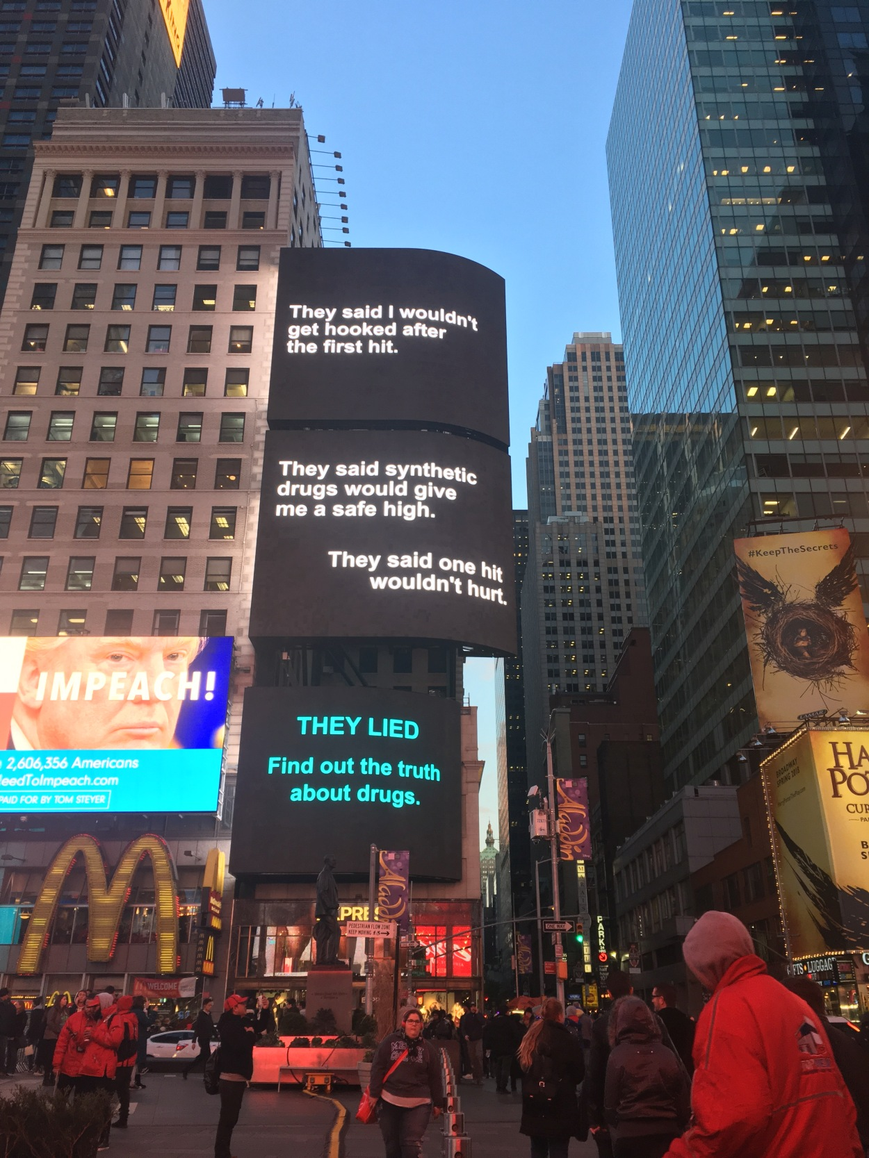 drug free world ads on times square thanksgiving weekend