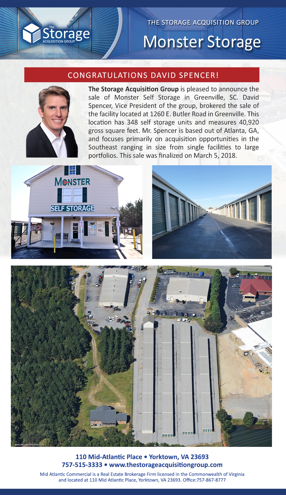 the storage acquisition group announces the sale of monster self storage in greenville south. Black Bedroom Furniture Sets. Home Design Ideas