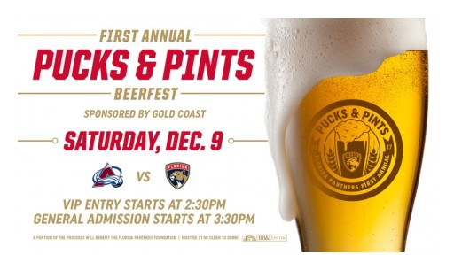 Florida Panthers to Host 'Pucks & Pints' Presented by Gold Coast Beverage on Saturday, Dec. 9