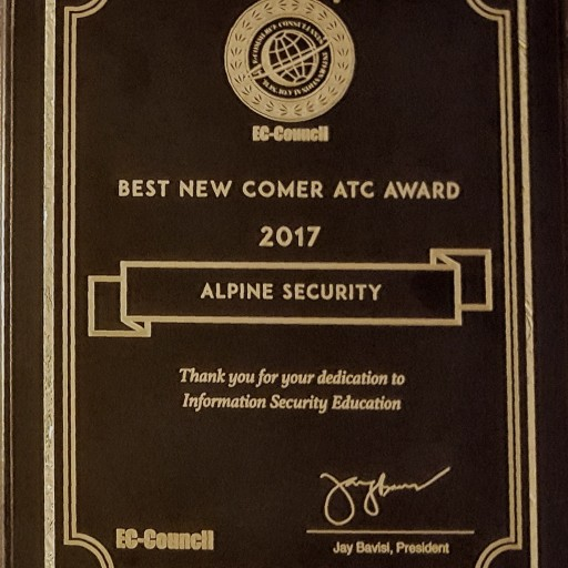 EC-Council Awards Alpine Security as '2017 Best Newcomer ATC' for North America