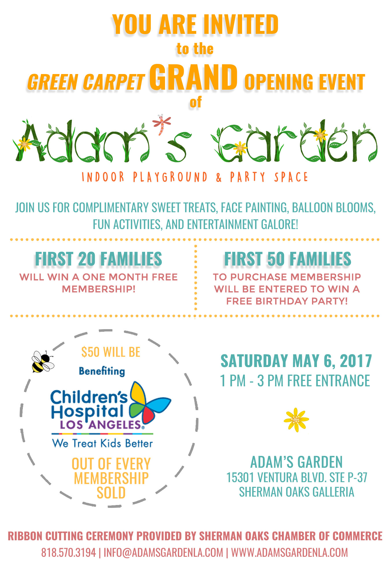 Adams garden launches first location at sherman oaks galleria invitation stopboris Image collections