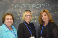 Cecille Askeoff, Laurie Loughney and Devora Corn at the conference on hope and aging in Jerusalem.