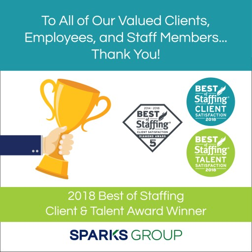 Sparks Group Wins Inavero's 2018 Best of Staffing® Client and Talent Awards